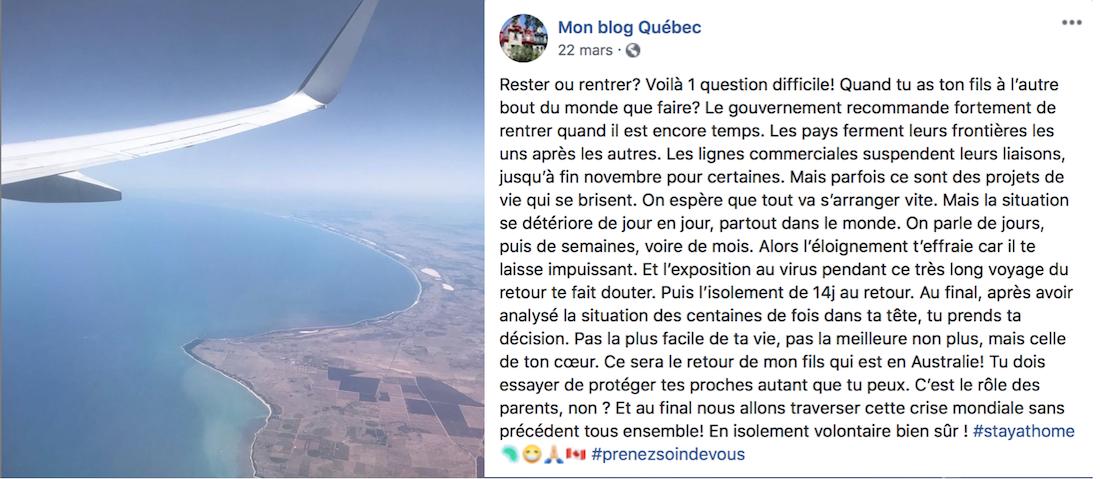 Covid-19 Rapatriement au Québec